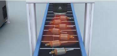 Parts on free conveyor